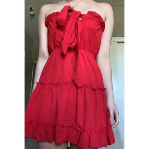 Red Strapless Dress with Self Tie Bow